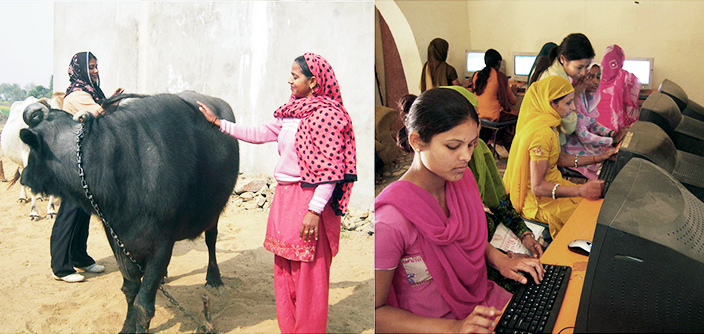 Two images of rural women. One in which they are taking care of the cattle and the other with them getting access to information through computers in a knowledge centre