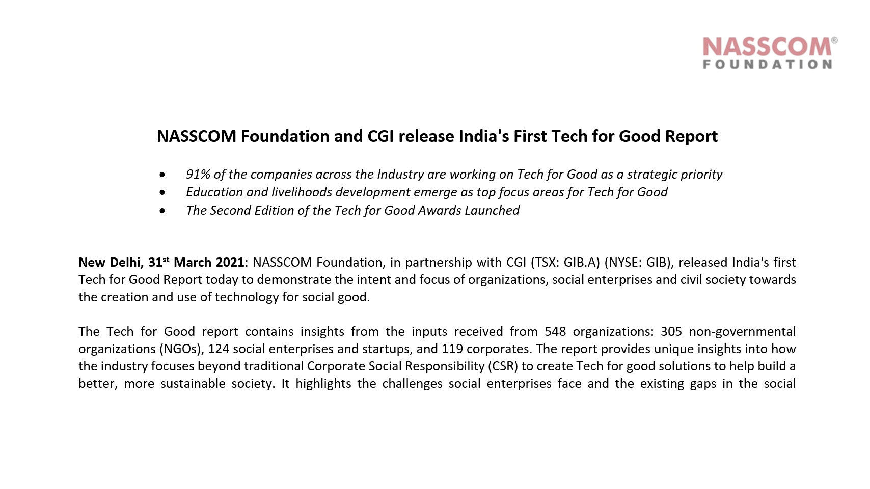 NASSCOM Foundation and CGI release India's First Tech for Good Report